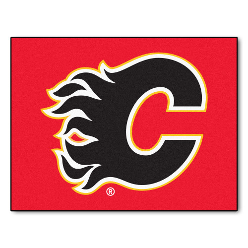 """33.75"""" x 42.5"""" Black and Red NHL Calgary Flames All-Star Non-Skid Mat Area Rug - IMAGE 1"""