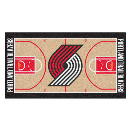 """24"""" x 44"""" Beige and Red NBA Portland Trail Blazers Court Rug Runner - IMAGE 1"""