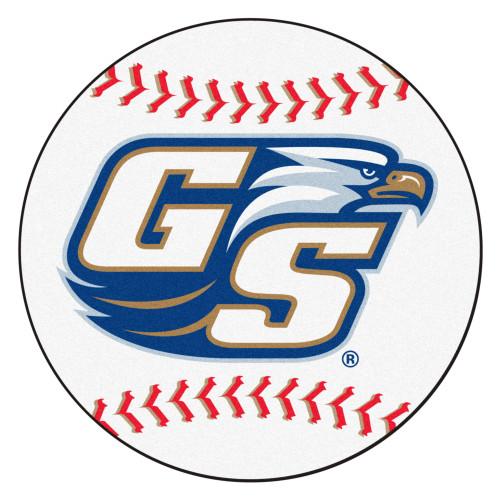 "27"" White and Blue NCAA Georgia Southern University Eagles Baseball Mat Round Area Rug - IMAGE 1"