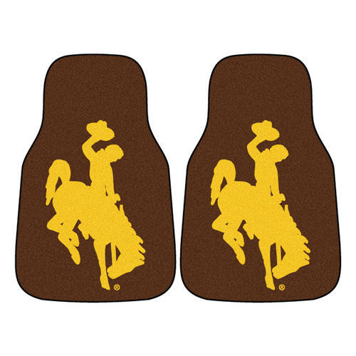 "Set of 2 Brown and Yellow NCAA University of Wyoming Cowboys Carpet Car Mats 17"" x 27"" - IMAGE 1"