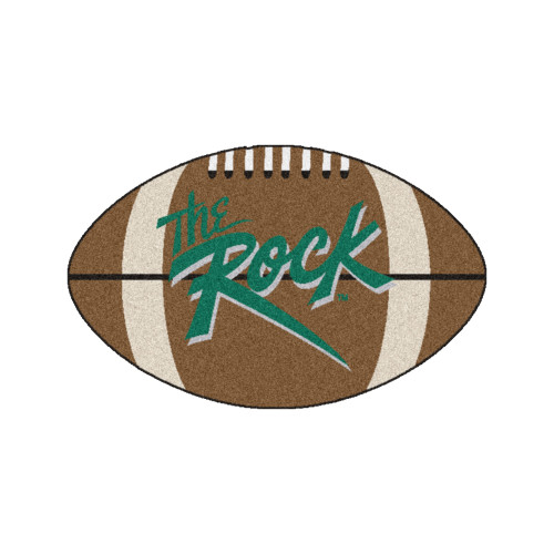 """20.5"""" x 32.5"""" Brown and Green NCAA Slippery Rock University The Rock Football Shaped Mat Area Rug - IMAGE 1"""