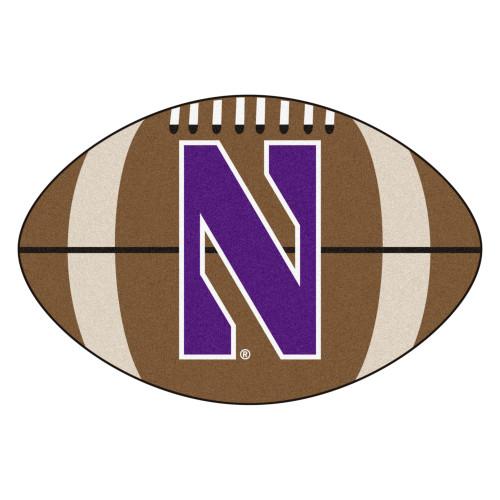 "20.5"" x 32.5"" Brown and Blue NCAA Northwestern University Demons Mat - IMAGE 1"