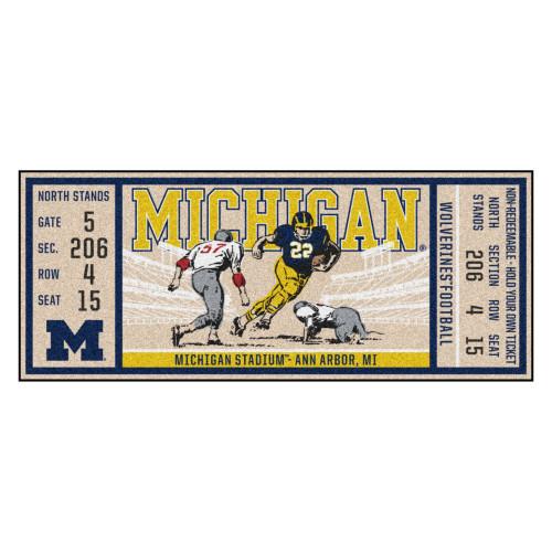 "30"" x 72"" Yellow NCAA University of Michigan Wolverines Ticket Non-Skid Mat Area Rug Runner - IMAGE 1"