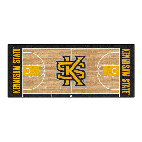 """30"""" x 72"""" Beige and Black NCAA Kennesaw State University Owls Basketball Area Rug Runner - IMAGE 1"""