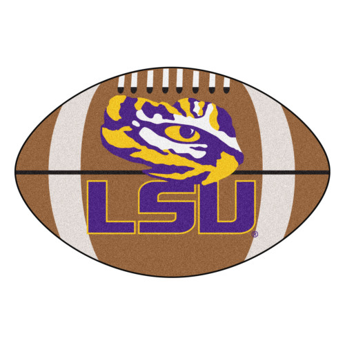 """20.5"""" x 32.5"""" Brown and White NCAA Louisiana State University Tigers Football Mat - IMAGE 1"""