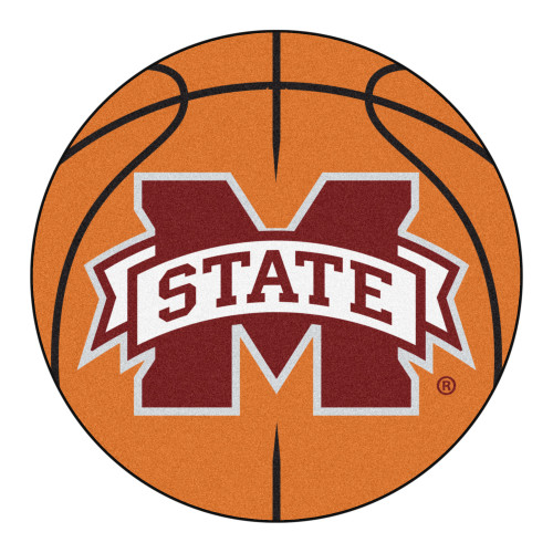 NCAA Mississippi State University Bulldogs Basketball Shaped Mat Area Rug - IMAGE 1