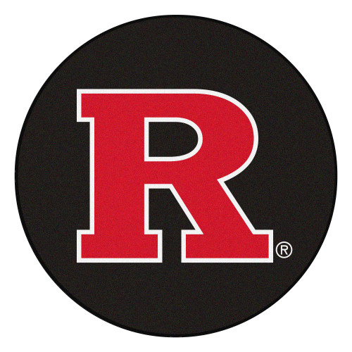 """27"""" Black and Red NCAA Rutgers University Scarlet Knights Puck Round Area Rug - IMAGE 1"""