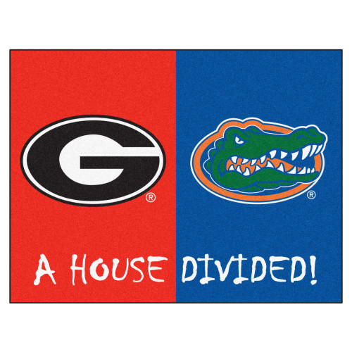 "33.75"" x 42.5"" Red and Blue NCAA Georgia Bulldogs - Florida Gators House Divided Mat - IMAGE 1"