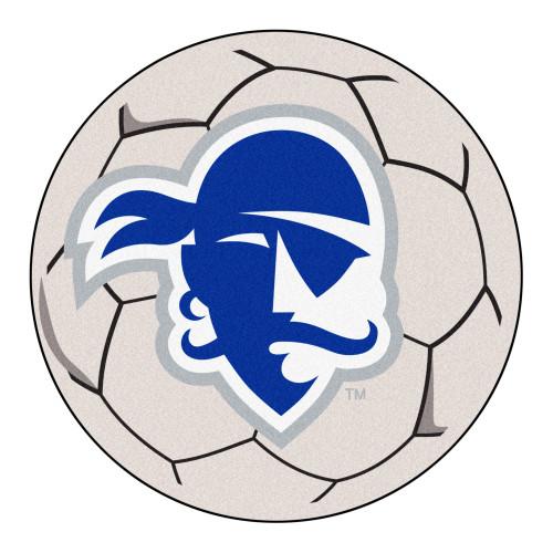 "27"" White and Blue Contemporary NCAA Seton Hall University Pirates Soccer Ball Round Mat - IMAGE 1"