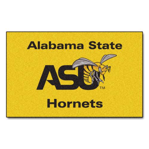 "59.5"" x 94.5"" Yellow and Black NCAA Alabama State University Crimson Tide Ulti-Mat Area Rug - IMAGE 1"