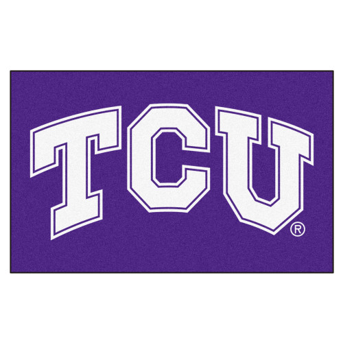 """59.5"""" x 94.5"""" Purple and White NCAA Texas Christian University Horned Frogs Ulti-Mat Area Rug - IMAGE 1"""