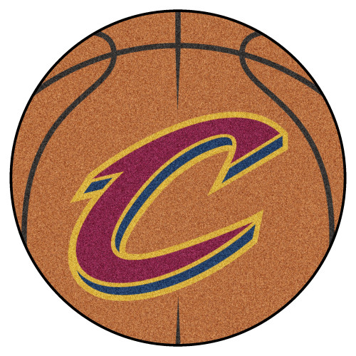 """27"""" Orange and Red NBA Cleveland Cavaliers Basketball Round Doormat - IMAGE 1"""