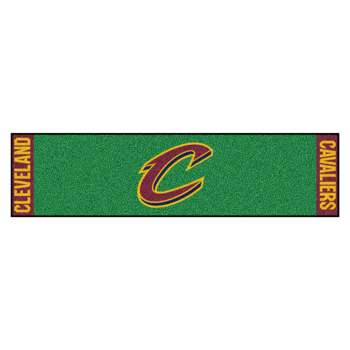 """18"""" x 72"""" Green and Yellow NBA Cleveland Cavaliers Golf Putting Mat - IMAGE 1"""