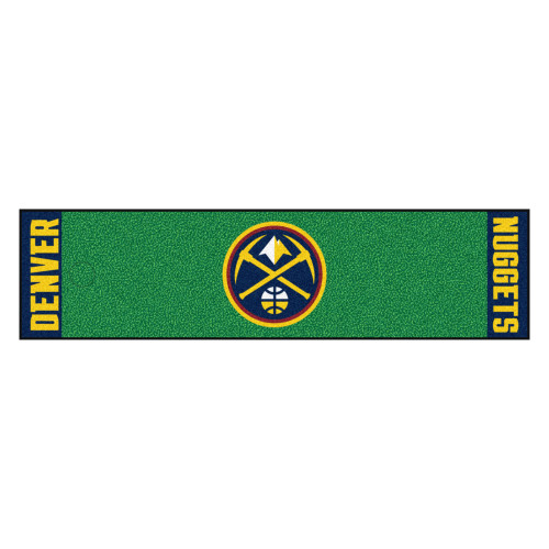 """18"""" x 72"""" Green and Gold NBA Denver Nuggets Golf Putting Mat - IMAGE 1"""
