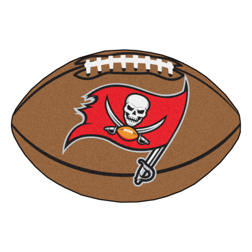 """20.5"""" x 32.5"""" Brown and Red NFL Tampa Bay Buccaneers Football Mat - IMAGE 1"""
