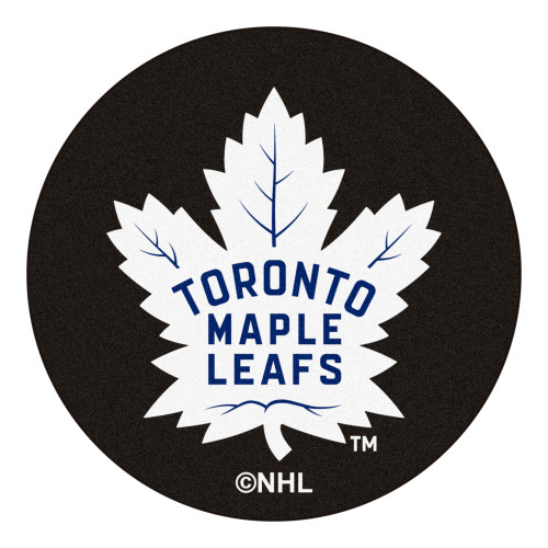 """27"""" Black and White NHL """"Toronto Maple Leafs"""" Round Welcome Door Mat - IMAGE 1"""