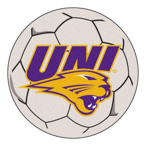 """27"""" Gray and Yellow NCAA University of Northern Iowa Panthers Soccer Ball Round Door Mat - IMAGE 1"""