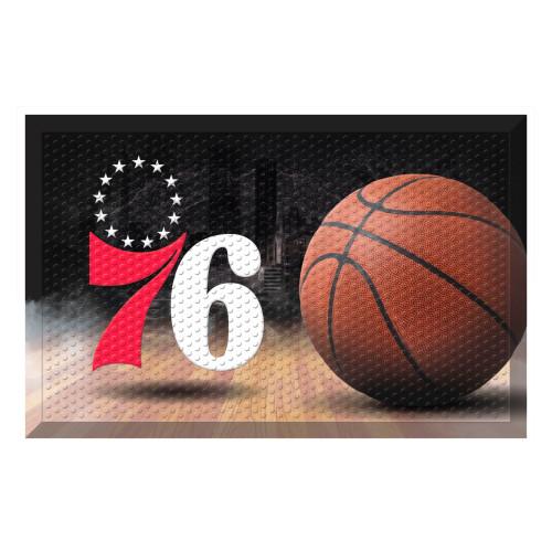 "19"" x 30"" Brown and White NBA Philadelphia 76ers Shoe Scraper Doormat - IMAGE 1"