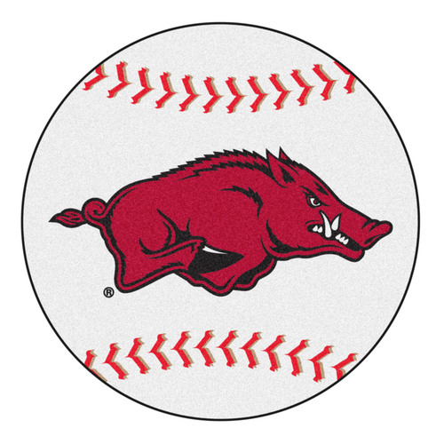 "27"" Red and White NCAA University of Arkansas Razorbacks Baseball Round Door Mat - IMAGE 1"