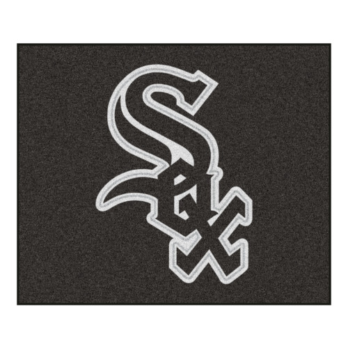 """59.5"""" x 71"""" Black and White MLB Chicago White Sox Tailgater Mat Outdoor Area Rug - IMAGE 1"""