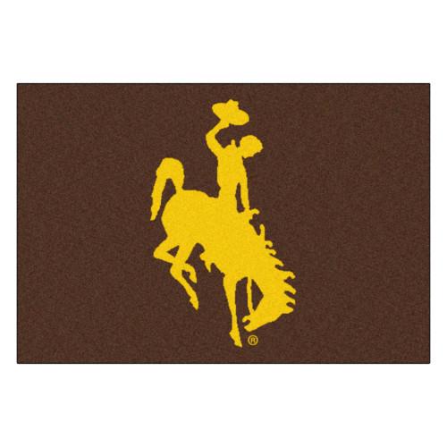 "19"" x 30"" Brown and Yellow NCAA University of Wyoming Cowboys Starter Rectangular Area Rug - IMAGE 1"