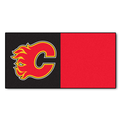 """20pc Red and Black NHL Calgary Flames Team Carpet Tile Flooring Squares 18"""" x 18"""" - IMAGE 1"""