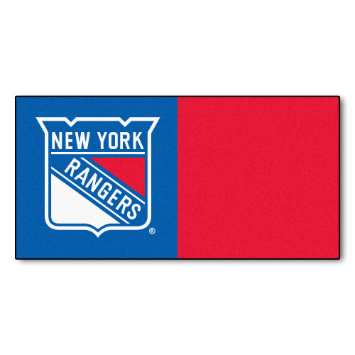 "20pc Blue and Red NHL New York Rangers Team Carpet Tile Flooring Squares 18"" x 18"" - IMAGE 1"
