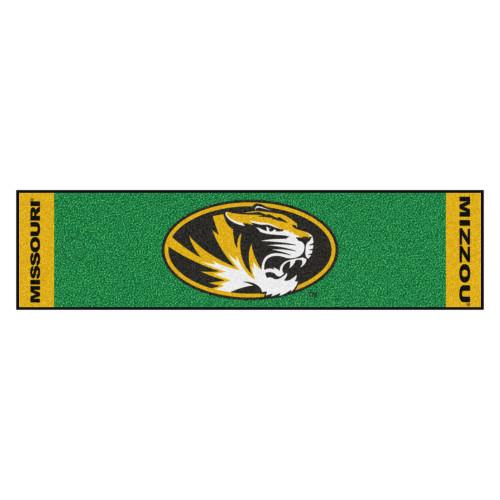 "18"" x 72"" Green and Yellow NCAA University of Missouri Tigers Putting Welcome Door Mat - IMAGE 1"