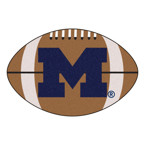 """20.5"""" x 32.5"""" Brown and Blue NCAA University of Michigan Wolverines Football Mat Area Rug - IMAGE 1"""