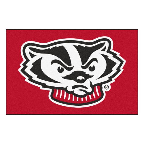 """19"""" x 30"""" Red and Black NCAA University of Wisconsin Badgers Starter Rectangular Door Mat - IMAGE 1"""