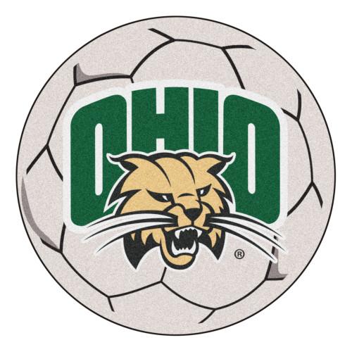 "27"" White and Green NCAA Ohio University Bobcats Soccer Ball Round Area Rug - IMAGE 1"