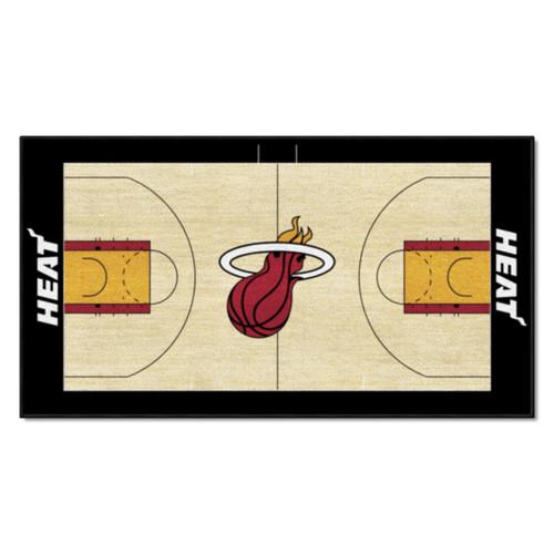 "24"" x 44"" Beige and Black NBA Miami Heat Court Rug Runner - IMAGE 1"