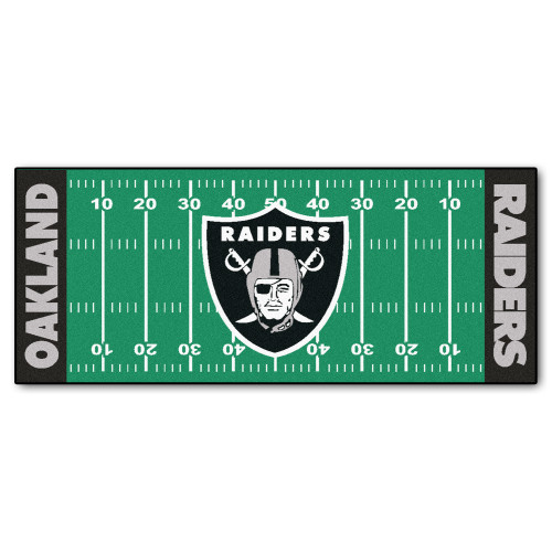 """30"""" x 72"""" Green and Black NFL Oakland Raiders Football Field Area Rug Runner - IMAGE 1"""