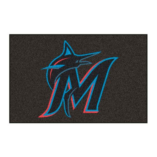 "Black and Blue MLB Miami Marlins Rectangular Starter Door Mat 19"" x 30"" - IMAGE 1"