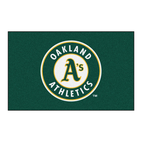 """59.5"""" x 94.5"""" Green and White MLB Oakland Athletics Ulti-Mat Rectangular Outdoor Area Rug - IMAGE 1"""