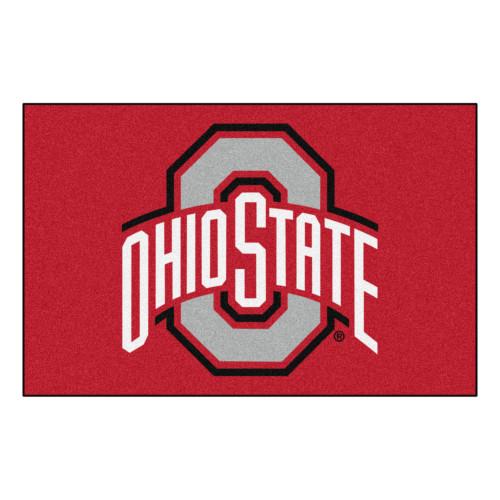 """19"""" X 30"""" Red and White NCAA Ohio State University Buckeyes Rectangular Starter Mat - IMAGE 1"""