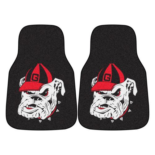 "Set of 2 Black and White NCAA University of Georgia Bulldogs Front Carpet Car Mats 17"" x 27"" - IMAGE 1"