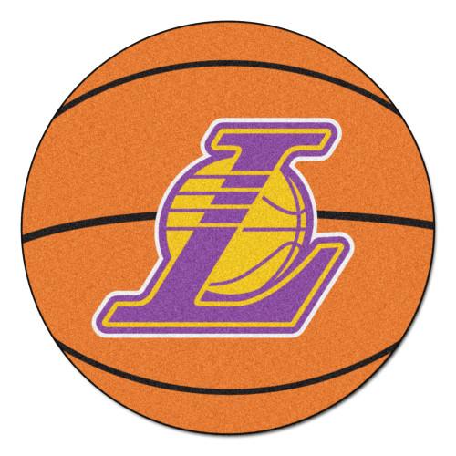 "27"" Orange and Purple NBA Los Angeles Lakers Basketball Round Doormat - IMAGE 1"