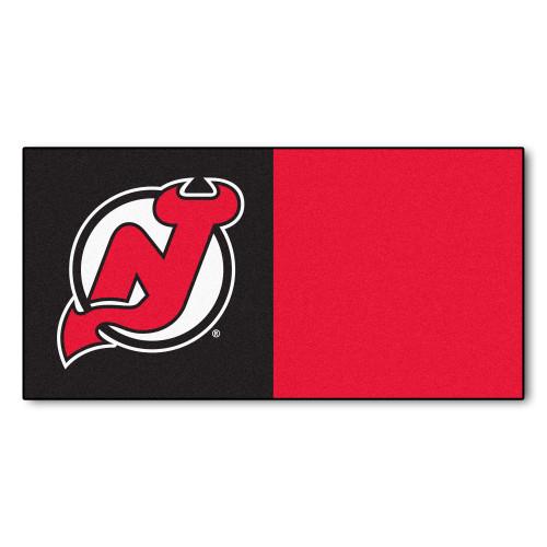 "20pc Red and Black NHL New Jersey Devils Team Carpet Tile Flooring Squares 18"" x 18"" - IMAGE 1"