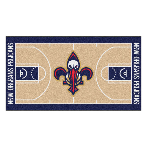 """29.5"""" x 54"""" Blue and Beige NBA New Orleans Pelicans Court Large Mat Area Rug Runner - IMAGE 1"""