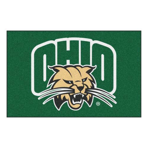 "19"" x 30"" Green and Brown NCAA Ohio University Bobcats Rectangular Area Rug - IMAGE 1"