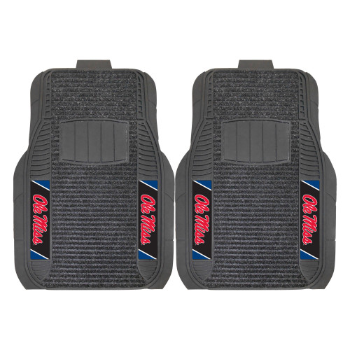 """Set of 2 Gray and Red NCAA University of Mississippi (Ole Miss) Rebels Front Car Mat Sets 21"""" x 27"""" - IMAGE 1"""