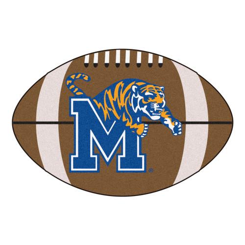 "20.5""x 32.5"" Brown NCAA University of Memphis Tigers Football Shaped Door Mat - IMAGE 1"