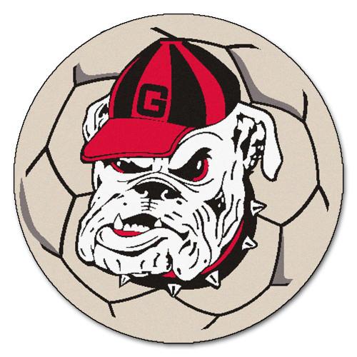 NCAA University of Georgia Bulldogs  Soccer Ball Mat Round Area Rug - IMAGE 1