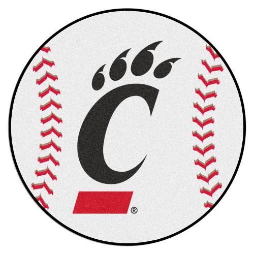 """27"""" White NCAA University of Cincinnati Bearcats Baseball Shaped Mat - IMAGE 1"""
