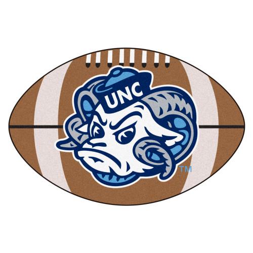 "20.5"" x 32.5"" Blue and White NCAA University of North Carolina Tar Heels Football Mat Area Rug - IMAGE 1"