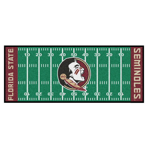 2.5' x 6' Green and Red NCAA Florida State University Seminoles Football Field Area Rug Runner - IMAGE 1