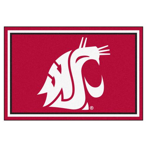 4.9' x 7.3' Red NCAA Washington State University Cougars Ultra Plush Area Rug - IMAGE 1
