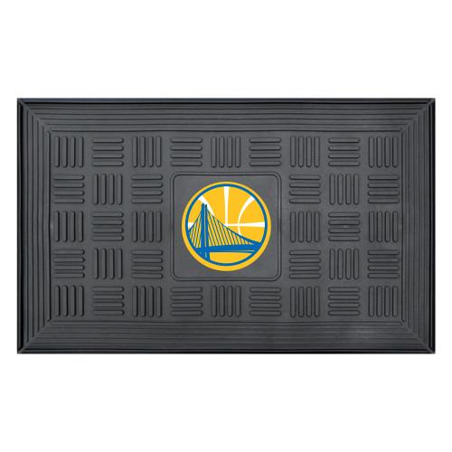 """19.5"""" x 31.25"""" Black and Yellow NBA Golden State Warriors Outdoor Door Mat - IMAGE 1"""