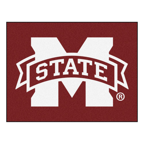 """33.75"""" x 42.5"""" Red NCAA Mississippi State University Bulldogs All-Star Rectangular Area Rug - IMAGE 1"""